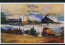 Grenada 1996 MNH Trains of World Locomotives 6v M/S Big Ben Railways Rail Stamps