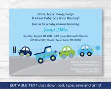 Around the Town Cars & Trucks Printable Baby Shower Invitation Editable PDF