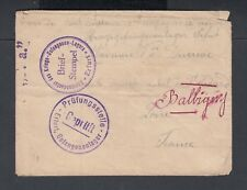 GERMANY 1915 WWI CENSORED PRISONER OF WAR POW CAMP ARFURT TO LOIRE FRANCE