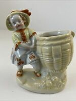 Vintage Hand Painted Ceramic Planter Victorian Girl With Basket Japan