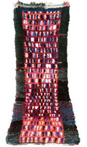 "VINTAGE Moroccan 6'4"" x 3' Boujaad Boucherouite Beni Ourain rug Azilal shag rug"