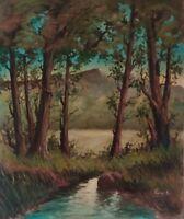 Quadro Moderno Dipinto olio su tela firmato, Paesaggio boschivo con fiume XX sec