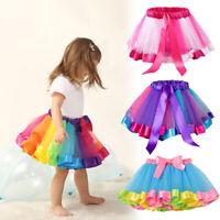 Girl Colorful Mesh Tutu Skirt Multilayer Pettiskirt Fluffy Dance Children S-L