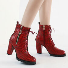 Women's Faux Leather Lace Up Chunky Heel Work Combat Boots Low Top Ankle Booties