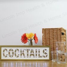 "Large ""COCKTAILS"" Gold LED Light Up Sign Wall Light for Home & Bar / Gift."