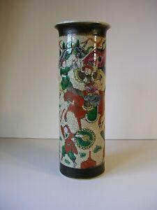 A Large 19thC Chinese Famille Verte Crackled glaze Porcelain Cylindrical Vase