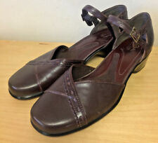 Clarks Womens Cute BROWN Leather Mary Jane Ankle Strap Open Style Shoes  10 M