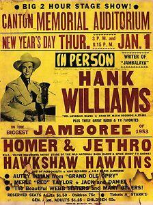 "Hank Williams Canton 16"" x 12"" Photo Repro Concert Poster"