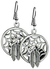 Silver Dreamcatcher and Feather Earrings Cowgirl Rodeo Horse Southwest