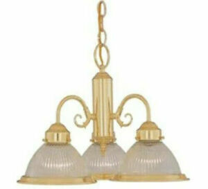 Designers Fountain 3 Light Down Chandelier with Prismatic Glass, Polished Brass