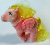 "Vintage My Little Pony Best Wishes G1 So Soft Pink Flocked Fuzzy ""PEGASUS"" 1983"