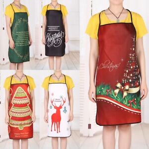 Unisex Holiday Ladies Elk Apron Novelty Funny Dinner BBQ Christmas Cooking Chef