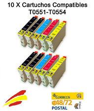 10 TINTAS NON OEM PARA EPSON STYLUS R240 T0551 T0552 T0553 T0554 551 ESPAÑA