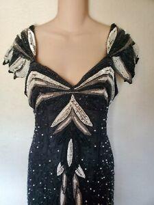 VINTAGE 80s LONG BLACK WHITE SILK SEQUIN BEADED S FLAPPER ART DECO GOWN DRESS