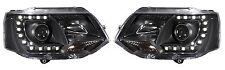 Black DRL Devil Eye LED Projector Headlights VW Transporter T5 Facelift 2010+