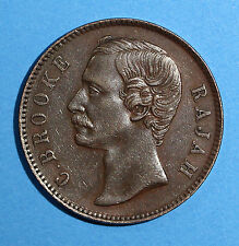 SARAWAK Copper Charles J. Brooke 1887  Cent  Choice XF Condition KM# 6