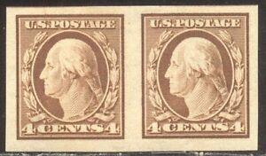 U.S. #346 Mint Pair - 4c Brown, Imprf