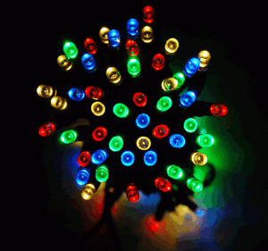 100 LED Multi Colour Solar Outdoor Fairy Lights Luxform On-Flicker-Off Modes