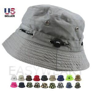 Bucket Hat Boonie Cap Cotton Fishing Brim Visor Sun Summer Camping Mens Womens