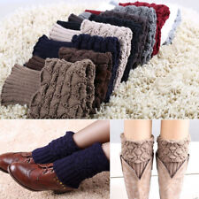 Women Winter Trim Boot Cuffs Toppers Leg Warmers Knitted Short Knee Ankle Socks