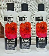 3x Faith in Nature Brave Botanicals Conditioner Rose & Neroli 3x 250ml Free P&P