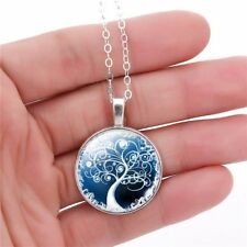 Living Tree of Life Glass Flory Tibet Silver Chain Pendant Necklace Round UK