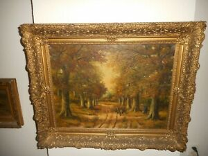 Large antique oil painting, { Hero Hette Ros 1872 - 1954, Woman gathering wood}.