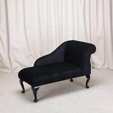 """41"""" Mini Chaise Longue in a Noir / Black Pimlico Fabric"""