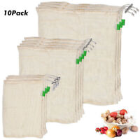 10XECO Reusable Cotton Mesh Produce Bags Grocery Fruit Storage Shopping String