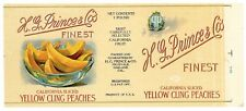 H. G. PRINCE Brand, Oakland, Peach *AN ORIGINAL 1920's TIN CAN LABEL* H03
