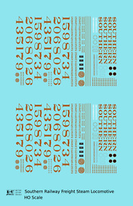 K4 HO Decals Southern Railway Freight Steam Locomotive Gold