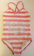 GIRLS HIGH SCHOOL MUSICAL PINK WHITE STRIPED CROSBACK SWIMSUIT COSTUME 4-5 YEARS