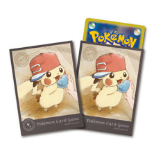 Pokemon Center Card Sleeves Japanese Pikachu Deck Shield Ash's Hat Alola 64pcs