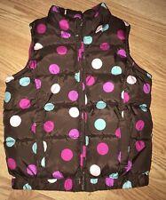Old Navy Girls Brown Polka Dot Puffer Vest Fleece Lined Zips Up Size 5T