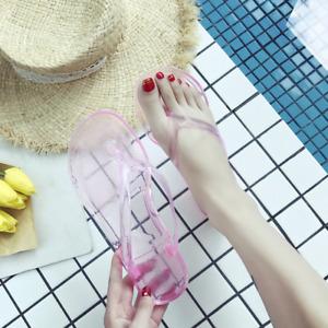 Women Clear Transparent Jelly Flip Flops Slippers Flats Summer Slides Sandals SZ