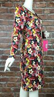 Betsey Johnson Dress Womens Size 10 Floral Print Long Sleeve New (U08)