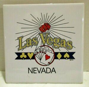 """Las Vegas Large Ceramic Souvenir Tile Trivet Size 6"""" X 6"""" with Hanger Vintage"""