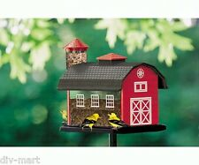 RED BARN with SILO COMBO BIRD FEEDER, Hanging or Pole Mount, ARTLINE #6290