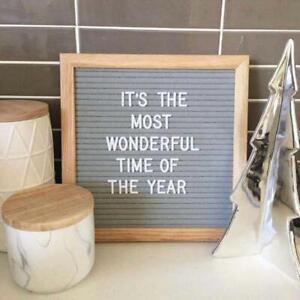 10x10 Inch Square Felt Letterboard Oak Wood Message Board 450 Plastic LettersAP