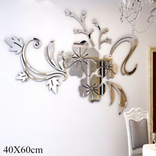 3D Mirror Flower Decal Wall Sticker DIY Removable Art Mural Home Room Decor  LS