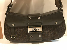 CHRISTIAN DIOR dark Canvas and Brown Leather Purse Handbag 100% authentic