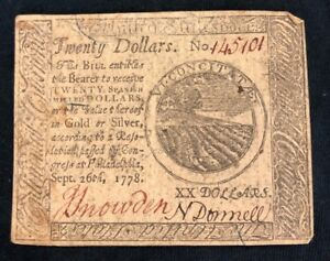$20 TWENTY DOLLARS SEPTEMBER 26, 1778 CONTINENTAL CURRENCY NOTE CC-82