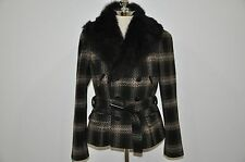 Ralph Lauren Black Label Lamb Shearling Fur Collar 100% Wool Jacket 12