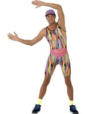 Adult Mens 1990s Mr Aerobics Fancy Dress Costume Bodysuit 80s Motivator Outfit