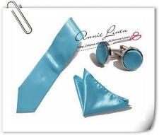Annie High Quality Wedding Plain Solid Satin Tie+Hanky+Cufflinks -Turquoise Blue