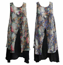 Rayon Floral Sleeveless Tunic Tops for Women