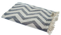 Hamamtuch Zickzack grau weiß Strandtuch Pareo Saunatuch 90x175 cm 100% Baumwolle