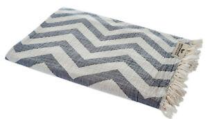 Hamam Cloth Zigzag Grey White Beach Towel Pareo Sauna 90x175 CM 100% Cotton