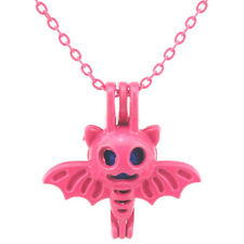 "Hot Pink Pearl Cage Necklace 18""  - Bat Halloween Locket Pendant --R505"