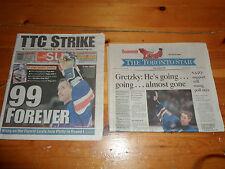 2x Newspapers The Toronto Star & Sun 1999 WAYNE GRETZKY Retirement